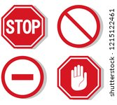 vector stop icon  prohibited... | Shutterstock .eps vector #1215122461