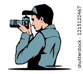 young photographer ... | Shutterstock .eps vector #1215122467