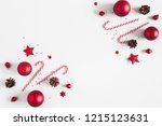 christmas composition. frame... | Shutterstock . vector #1215123631