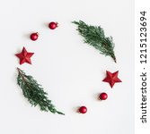 christmas composition. wreath... | Shutterstock . vector #1215123694
