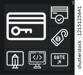 set of 6 security outline icons ... | Shutterstock .eps vector #1215125641