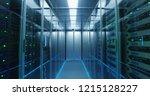 shot of a long hallway full... | Shutterstock . vector #1215128227