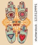 set of tattooed hands  hippie... | Shutterstock .eps vector #1215129991