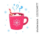 winter hot drink. red cup of... | Shutterstock .eps vector #1215134977
