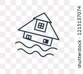 flooding house vector outline... | Shutterstock .eps vector #1215137074