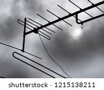 tv antenna on a background of... | Shutterstock . vector #1215138211