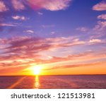 fiery backdrop sunset paradise | Shutterstock . vector #121513981