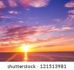 fiery backdrop sunset paradise | Shutterstock . vector #121513981