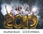new year party. group of young... | Shutterstock . vector #1215144661