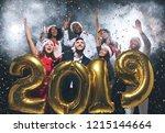excited multhiethnic friends in ... | Shutterstock . vector #1215144664