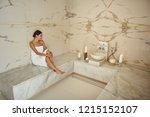 pretty lady wearing white towel ... | Shutterstock . vector #1215152107
