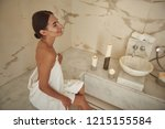 happy young woman smiling and... | Shutterstock . vector #1215155584