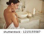 beautiful portrait of happy... | Shutterstock . vector #1215155587