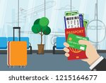 business man holding passport ... | Shutterstock .eps vector #1215164677