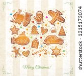 christmas card with gingerbread ... | Shutterstock .eps vector #1215173074