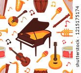 musical instruments flat icons... | Shutterstock .eps vector #1215175174