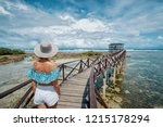 vacation on tropical island.... | Shutterstock . vector #1215178294
