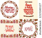 set of christmas cards with... | Shutterstock .eps vector #1215183127