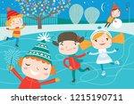 landscape with cute children in ... | Shutterstock .eps vector #1215190711