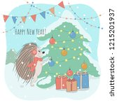 christmas and new year vector... | Shutterstock .eps vector #1215201937