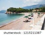 sveti stefan  budva  ... | Shutterstock . vector #1215211387
