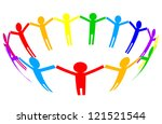 colorful icon   people in circle | Shutterstock . vector #121521544