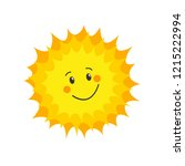 funny sun icon. flat vector | Shutterstock .eps vector #1215222994