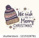 we wish you a merry christmas... | Shutterstock .eps vector #1215228781
