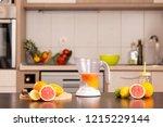 fresh citrus fruit on a kitchen ... | Shutterstock . vector #1215229144
