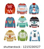 ugly sweaters set. christmas...   Shutterstock .eps vector #1215230527