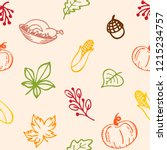 autumn theme  seamless pattern. ... | Shutterstock .eps vector #1215234757