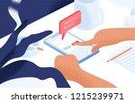 hands deleting account or... | Shutterstock .eps vector #1215239971