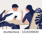 couple sitting at table  woman... | Shutterstock .eps vector #1215240034