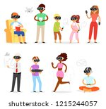 virtual reality vector people... | Shutterstock .eps vector #1215244057