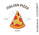 elegant logotype with pizza... | Shutterstock .eps vector #1215248077