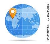 globe earth flat with orange...   Shutterstock .eps vector #1215250081