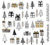 hand drawn set of christmas... | Shutterstock .eps vector #1215253117