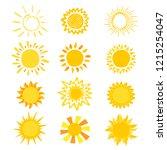 sun vector sunny icon with... | Shutterstock .eps vector #1215254047