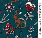 rabbit in snowy forest ...   Shutterstock .eps vector #1215256771