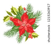 composition of red poinsettia...   Shutterstock .eps vector #1215263917
