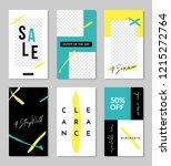 a set of six editable vertical... | Shutterstock .eps vector #1215272764