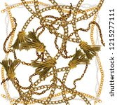 baroque golden chain background.... | Shutterstock . vector #1215277111