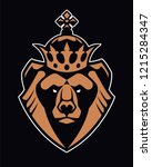 bear in crown mascot vector art....   Shutterstock .eps vector #1215284347