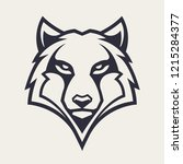 wolf mascot vector art. frontal ...   Shutterstock .eps vector #1215284377
