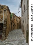 spain  pubol. street near gala... | Shutterstock . vector #1215288454