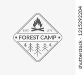 camp badge. forest camping... | Shutterstock .eps vector #1215292204