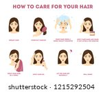 how to care for your hair... | Shutterstock .eps vector #1215292504