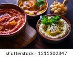 pumpkin hummus red pepper...   Shutterstock . vector #1215302347