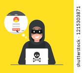 hacker sitting at the desktop... | Shutterstock .eps vector #1215303871