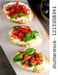 tomato and cheese fresh made... | Shutterstock . vector #1215308341